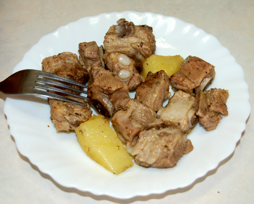 Mr. Goudas Recipes - Pork Pieces with Potatoes